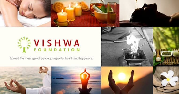 Logo of Vishwa Foundation surrounded by healthy lifestyle images